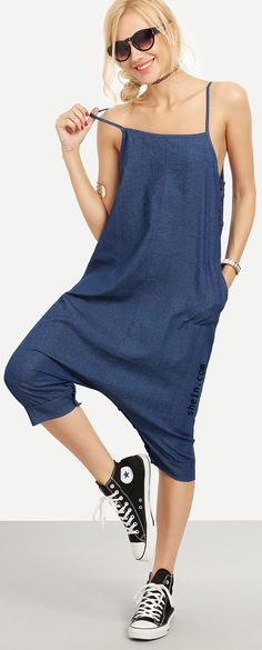 Geek style-Buttoned Drop Crotch Blue Denim Overall Pants.