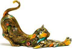 "www.artshopnc.com   ""Gatin"" Nanimals Medium Size Sculptures"