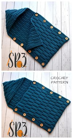 Crochet Baby Cocoon Pattern, Baby Blanket Crochet, Free Crochet, Knit Crochet, Crochet Wave Pattern, Knitted Baby, Crotchet, Baby Pullover, Crochet Buttons