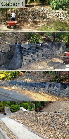 gabion retaining wall that recycles the site rubble as gabion will in the back of the wall. http://www.gabion1.com