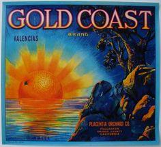 GOLD COAST Vintage Orange Crate Label - Tribute to Gold Coast Van club