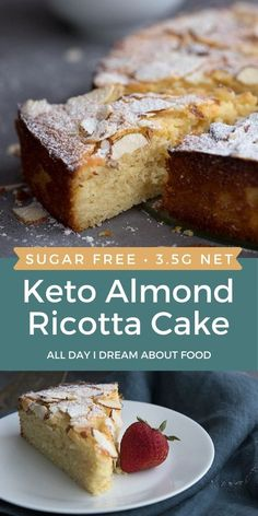 Rich keto Italian almond cake with the creaminess of ricotta cheese. This deliciously tender cake is a low carb, sugar free marvel. Sugar Free Desserts, Dessert Recipes, Delicious Desserts, Cake Recipes, Yummy Recipes, Breakfast Recipes, Healthy Recipes, Low Carb Deserts, Low Carb Sweets