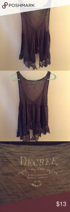 Lace, Button Vest Beautiful, flowy vest. Perfect for layering. Decree Tops Button Down Shirts