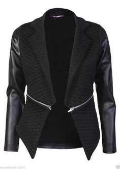 Women Ladies Quilted PU Leather Look Long Sleeve Zip Waterfall Blazer Jacket Top (10, Black)