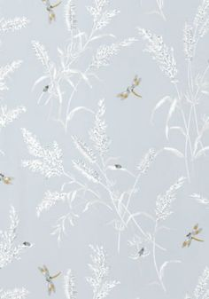 Summertime (T4194) - Thibaut Wallpapers - A pretty summertime motif of leaves, ladybirds and dragonflies in blue - vinyl coated. This is an American wallcovering and will take between 7-10 working days for delivery. Wide width. Please request sample for true colour match.