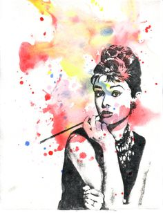 Audrey Hepburn Watercolor Painting - Original Watercolor Painting