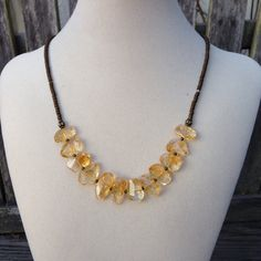 Chunky Citrine and Brass Necklace by EastVillageJewelry on Etsy Beautiful handcrafted jewelry - Free shipping! www.eastvillagejewelry.etsy.com