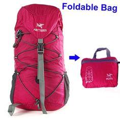 Arcteryx Unisex Foldable Waterproof Ripstop 30L Travel Backpack Red - FixShippingFee- - TopBuy.com.au