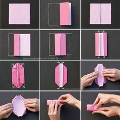 Como fazer caixinha de origami-  Passo a passo com fotos - How make an origami box- DIY tutorial  - Madame Criativa - www.madamecriativa.com...
