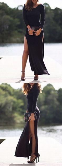 Black Crochet Lace Back Side Slit Long Sleeve Bodycon Dress-CHOIES