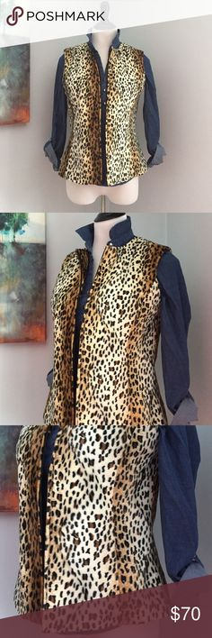 Faux Fur Leopard Print Vest Super chic!! Fully lined faux fur leopard print vest with full front zip. Like new condition, worn once!! Jackets & Coats Vests
