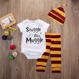 Snuggle this Muggle harry Potter 3 piece set comes with the Gryffindor Beanie, pants and Onsie that would please any Muggle Parents! FREE SHIPPING is available