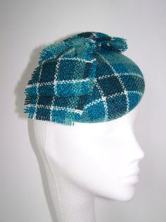 Cocktail Hat  Teal Tweed Bow by MindYourBonce on Etsy, £55.00