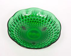 Vintage Green Glass Dish   Vintage Forest Green Hobnail Glass Bowl Anchor Hocking Footed Candy ...