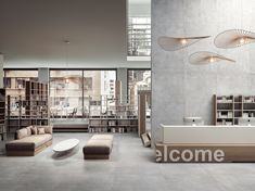 Large Concrete Effect Tiles: Plain Pallet Boxes, Jewellery Showroom, Limestone Flooring, Tuile, Door Steps, Glazed Tiles, Unique Faces, Cinder, Porcelain Tile