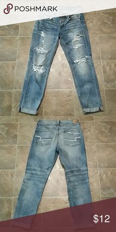 American Eagle women's distressed jeans Size 4 regular. Stretch. Good condition, just too small for me. Smoke-free. American Eagle Outfitters Jeans