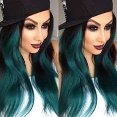 Black smokey eye - Red ombre lips - Teal hair