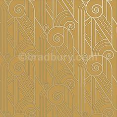 Bradbury Art Deco Designs | Volute Retro Wallpaper in Old Gold