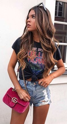 #fall #outfits Black Printed Tee + Ripped Denim Short