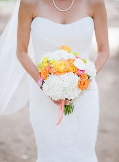 Justin and Keary Weddings » colorful spring bouquet and lace gown » Hidden Valley Retreat and Spa in Escondido, CA