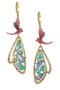 WENDY YUE ~ Dragonfly earrings with opals in 18k yellow gold