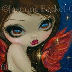 Faces of Faery 210 big eye fairy face art print by by strangeling, $13.99