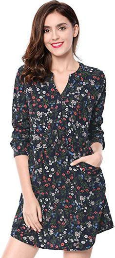 3148fe204f Allegra K Women s Floral Print Button Closure V-neckline Pockets Dress XS  Blue at Amazon