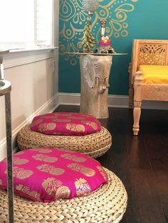 indian home decor Ikea hack floor cushion Rattan Ottoman, Ottomans, Ethnic Home Decor, Indian Home Decor, Indian Inspired Decor, Indian Decoration, Moroccan Home Decor, Indian Home Interior, Furniture Redo