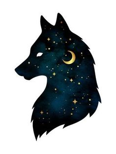 Wolf Art photos, royalty-free images, graphics, vectors & videos - Silhouette of wolf with crescent moon and stars isolated. Sticker, print or tattoo design vector il - Cute Animal Drawings, Cute Drawings, Fantasy Kunst, Fantasy Art, Pop Art Girl Crying, Wolf Images, Images Photos, Wolf Photos, Pictures