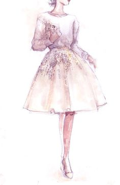 Fashion sketch pink and white