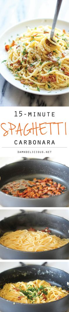 DAMN DELICIOUS - Spaghetti Carbonara - The easiest pasta dish you will ever make with just 5 ingredients in 15 minutes, loaded with Parmesan and bacon! Quick Meals, Healthy Meals, Healthy Recipes, Delicious Recipes, 15 Minute Meals, Easy Recipes, Italian Dishes, Italian Recipes, Italian Pasta