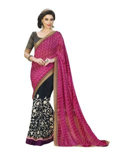Pink Net and Faux Chiffon Contemporary Saree