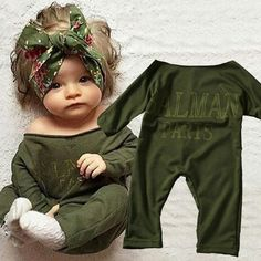 b80dd9072ae2 Sweet Baby Girls Long Sleeve Warm Clothes Outfits Olive Romper Jumpsuit  Bodysuit in Clothing