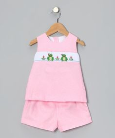 Take a look at this Petite Palace Pink Frog Top & Shorts - Toddler & Girls by Petite Palace on #zulily today!