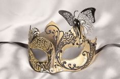 butterfly masquerade mask   Venetian Masquerade Masks with Metal Butterfly - Teresa Gold