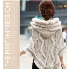 free shipping women rabbit fur coat jacket Knitted Genuine rabbit Fur poncho Shawl Wrap  with hood Wholesale retail 2014 new