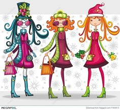 Christmas shopping girls