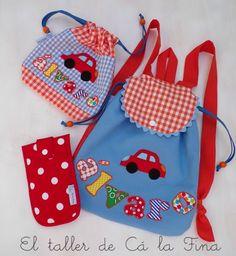 Mochila de guardería y bolsa de tela personalizada para Alvaro