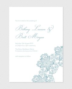 Printable DIY Wedding Invitation in a Modern lace style.. £28.00, via Etsy.
