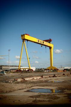 Harland and Wolf crane Belfast Titanic built here. Belfast Titanic, Belfast City, County Cork Ireland, Galway Ireland, Ireland Vacation, Ireland Travel, Bucket List Holidays, Ireland Landscape, Urban Landscape