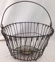 Vintage Wire Egg Gathering Basket Authentic Antique Farm Harvest