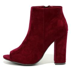 Means So Much Burgundy Suede Peep-Toe Booties ($36) ❤ liked on Polyvore featuring shoes, boots, ankle booties, red, peep toe ankle booties, burgundy booties, red booties, red zipper boots and burgundy suede boots
