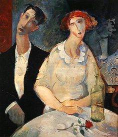 """""""At the Restaurant"""" is is not a Amadeo Modigliani's painting but someone of the school of Modigliani made it: Glen Preece, australian painter. Anyway is very beautiful and interesting Amedeo Modigliani, Modigliani Paintings, Matisse, Karl Schmidt Rottluff, Tableaux Vivants, Italian Painters, Paul Gauguin, Famous Artists, Oeuvre D'art"""