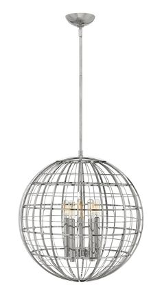 Terra 19 Inch Large Pendant - Terra combines mid-century modern and contemporary design elements for a dramatic silhouette. Intersecting vertical and horizontal lines form a stylish, open globe suspended from a sleek stem. Globe Chandelier, Candle Styling, Led Crystal Chandelier, Polished Nickel, Hinkley Lighting, Hinkley Chandelier, Light, Pendant Lighting, Globe Lights