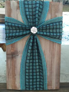 Burlap cross on old wood by TheColvinSix on Etsy