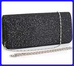 Jubileens Women's Flap Glitter Hard Case Evening Bag Clutch Handbag Purse (Black) - Evening bags (*Amazon Partner-Link)