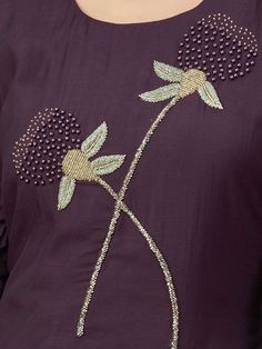 Contact to us for this item Embroidery On Kurtis, Kurti Embroidery Design, Wedding Embroidery, Hand Embroidery Videos, Bead Embroidery Patterns, Hand Embroidery Flowers, Embroidery On Clothes, Hand Work Embroidery, Learn Embroidery