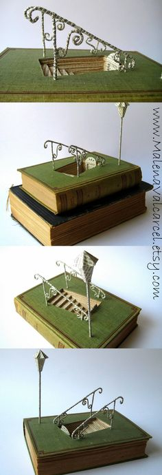 Book art - Into the unknown. - Delightful! the link to the artists shop is http://www.etsy.com/shop/malenavalcarcel