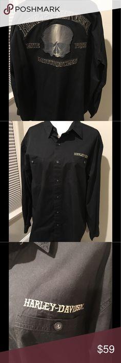 Mens 2XL Harley-Davidson Mens Harley-Davidson Shirt Black Harley-Davidson Shirts Casual Button Down Shirts