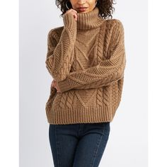 4773ec80f7a Charlotte Russe Turtle Neck Cropped Sweater ( 17) ❤ liked on Polyvore  featuring tops